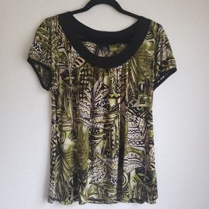 New directions leaf print blouse